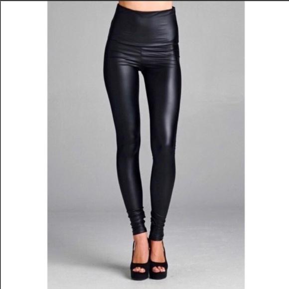 4b3ff49b8ef Black Faux Leather High Waist Leggings